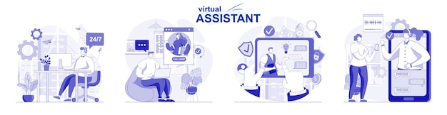 Virtual assistant isolated set in flat design people advise clients resolve issues by video call