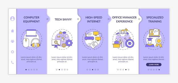 Virtual assistant requirements onboarding  template. office manager experience. specialized training. responsive mobile website with icons. webpage walkthrough step screens. rgb color concept