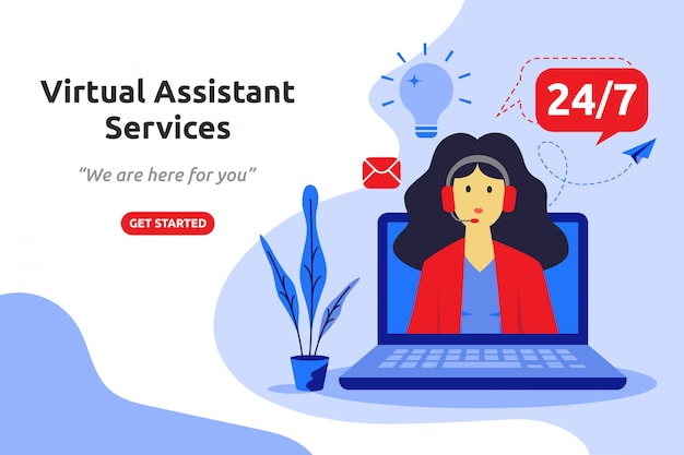 Virtual assistant services concept modern flat design
