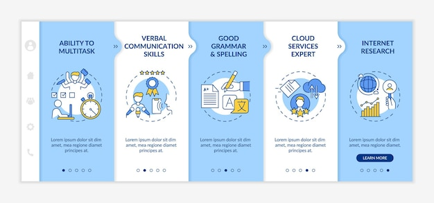 Virtual assistant skills onboarding  template. ability to multitask. administrative management. responsive mobile website with icons. webpage walkthrough step screens. rgb color concept