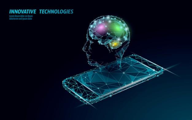 Технология распознавания голоса виртуального помощника. поддержка роботов искусственного интеллекта ai. мозг чат-бота на иллюстрации системы смартфона.