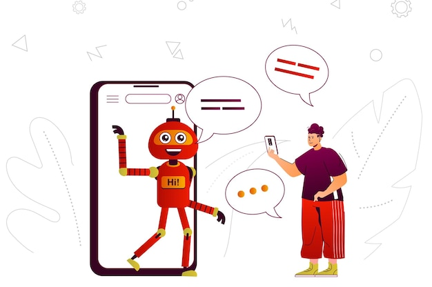 Virtual assistant web concept online assistant robot assists user in mobile app