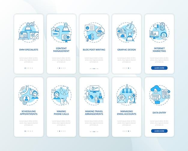 개념이 설정된 가상 도우미 작업 온 보딩 모바일 앱 페이지 화면