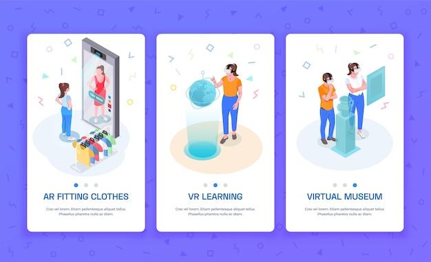 Bandiere verticali isometriche di realtà aumentata 3 virtuale con ar che provano sui vestiti che imparano l'illustrazione del museo di vr