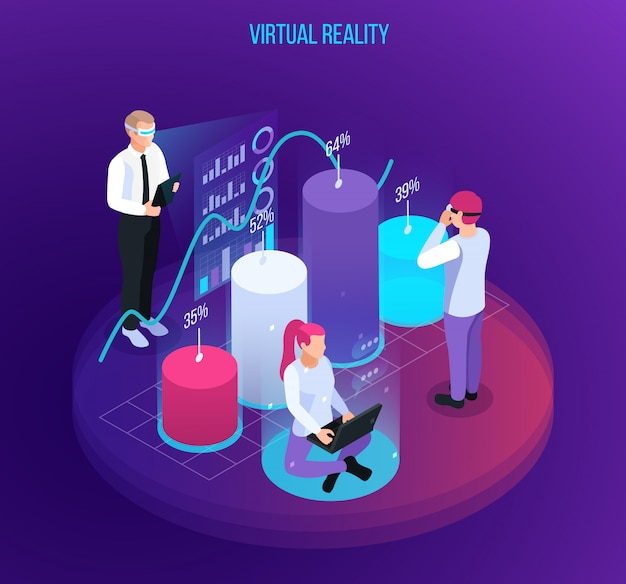Virtual augmented reality 360 degree isometric composition with infographic objects digits and symbols with human characters vector illustration
