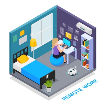 Virtual augmented reality 360 degree isometric composition with view of domestic bedroom interior with electronic devices vector illustration
