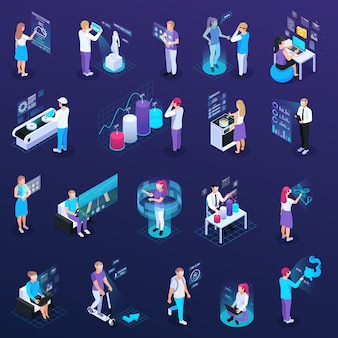 Virtual augmented reality 360 degree isometric icons set of isolated human characters with wearable electronic accessories vector illustration