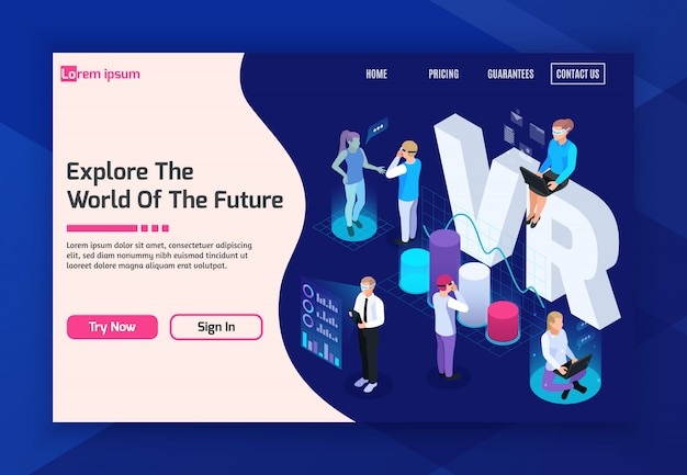 Virtual augmented reality 360 degree isometric landing page with clickable buttons and text vector illustration