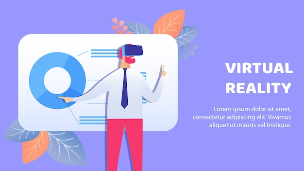 Virtual, augmented reality banner vector template