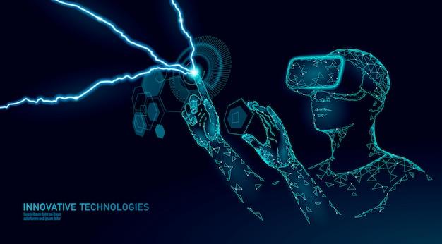 Virtual augmented reality helmet . innovation media entertainment polygonal concept.