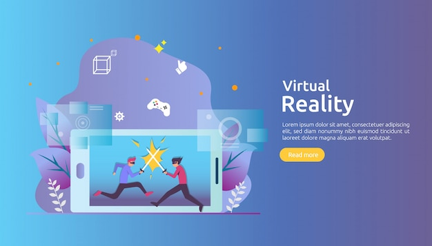 Virtual augmented reality with people character touching vr interface and wearing goggle playing game