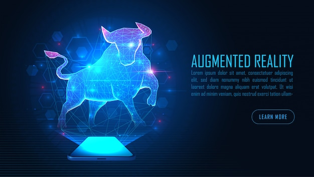 Virtual bull augmented reality stand out from smartphone background concept