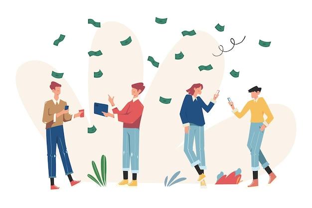 가상 비즈니스 도우미, 카드 투자 관리, 승진, 프로젝트에 돈 투자