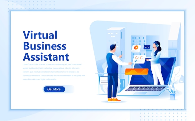 Virtual business assistant flat landing page template of homepage