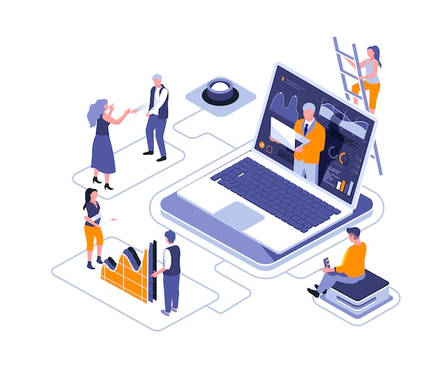 Virtual business assistant isometric   illustration