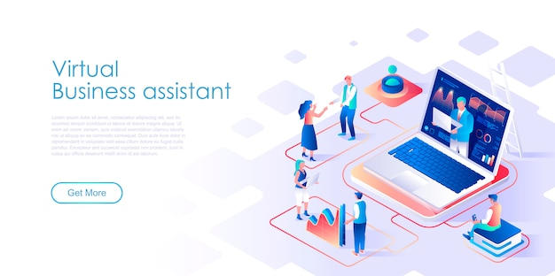 Virtual business assistant isometric landing page template