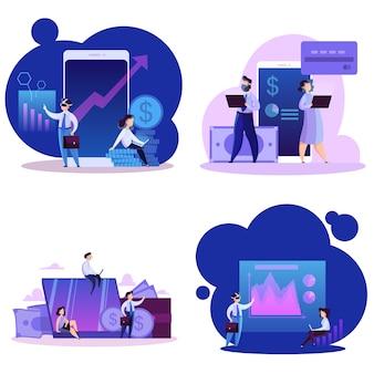 仮想ビジネスコンセプトセット。現代の技術、インターネット
