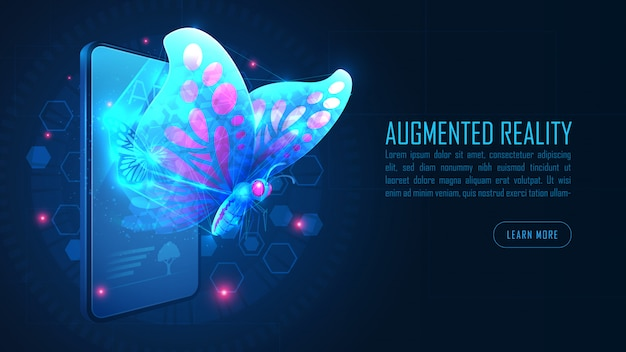 Virtual butterfly augmented reality fly out from smartphone background concept