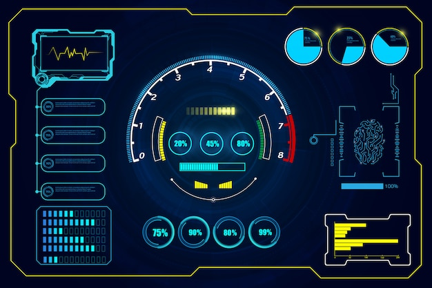 Virtual circle hud gui elements futuristic  background