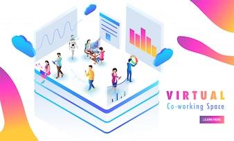 Virtual Co-Working platform, miniature people analysis data.