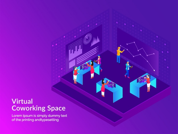 Virtual co-working space concept.