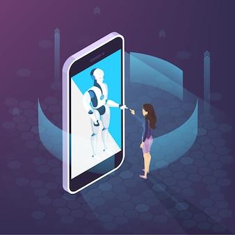 スマートフォンでの仮想コミュニケーション