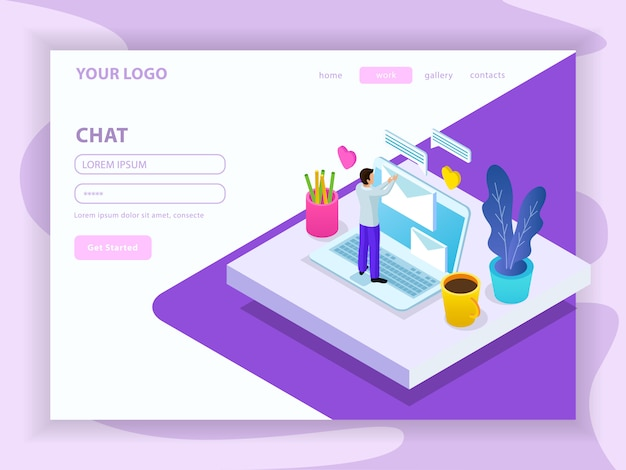 Virtual communication isometric composition with landing page of website with menu and registration form illustration