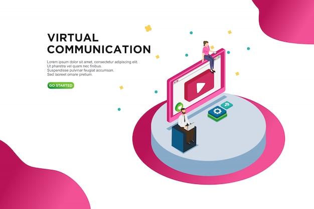 Virtual communication isometric vector illustration concept