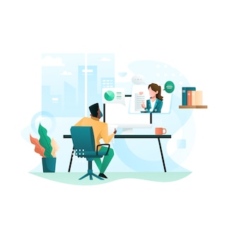 Virtual conference call of a business group meeting and work from home illustration