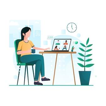 Виртуальная конференц-связь встречи бизнес-группы и работа из дома иллюстрации