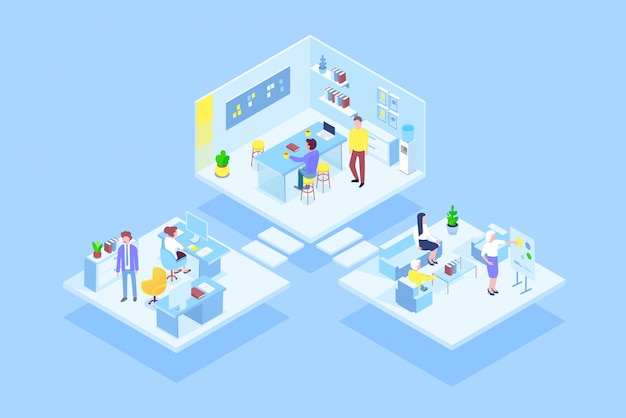 Virtual coworking office with business people team working together. business management, online communication and finance isometric concept illustration.