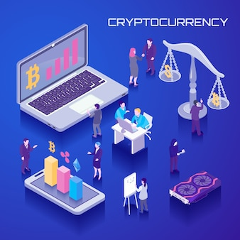 Virtual currency isometric background