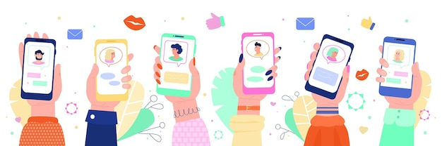 Virtual date and romantic chat on mobile devices sketch vector illustration