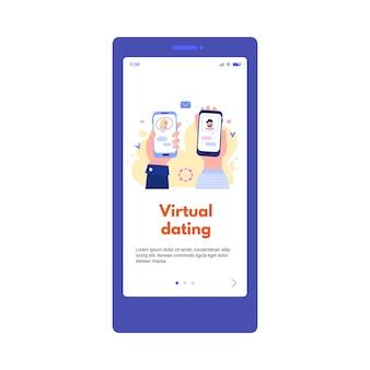 電話スクリーンソーシャルメディアアプリケーションの仮想デートアプリの概念