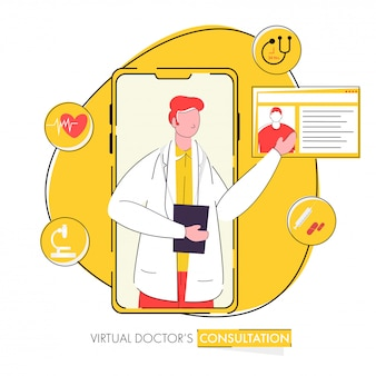 Virtual doctor's consultation concept based poster  for advertising.