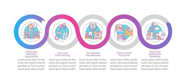 Virtual event marketing infographic template. hashtag, content for promo presentation design elements.