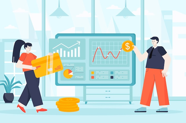 Virtual finance concept in flat design