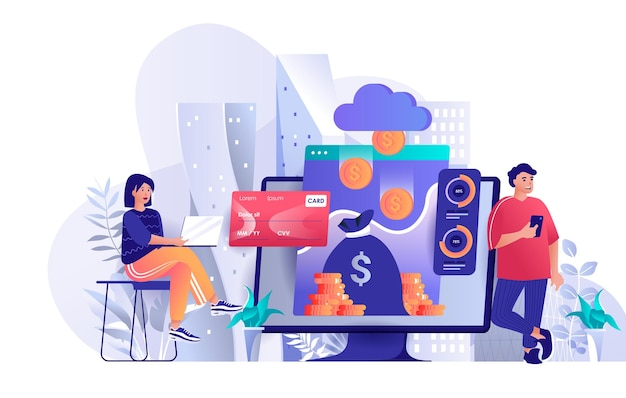 Virtual finance flat design concept illustration of people characters
