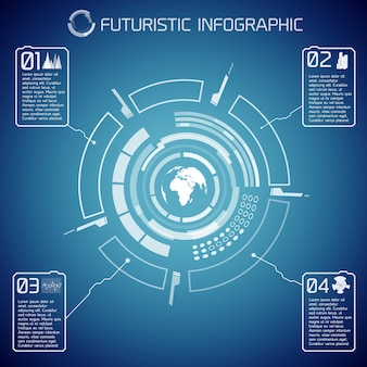 Виртуальный футуристический инфографический шаблон с текстом глобуса пользовательского интерфейса и значками на синем фоне