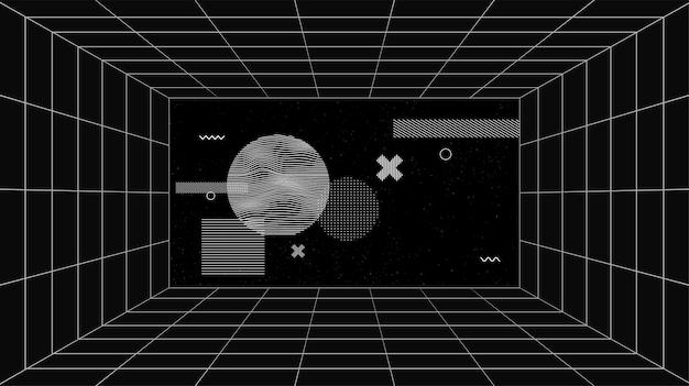 격자선과 기하학적 예술 구성이 있는 가상 미래형 화면. 가상 현실 기술의 개념적 공상 과학 공간