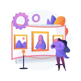 Illustrazione di vettore di concetto astratto di tour della galleria virtuale. visita della galleria virtuale gratuita, opera d'arte, esperienza espositiva online, distanza sociale, arteterapia, metafora astratta dell'istruzione online.