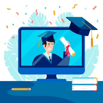 Virtual graduation ceremony with confetti and computer