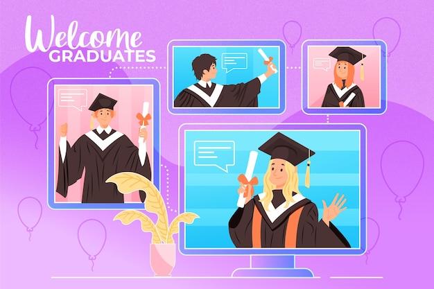 Виртуальная выпускная церемония с приборами и учениками