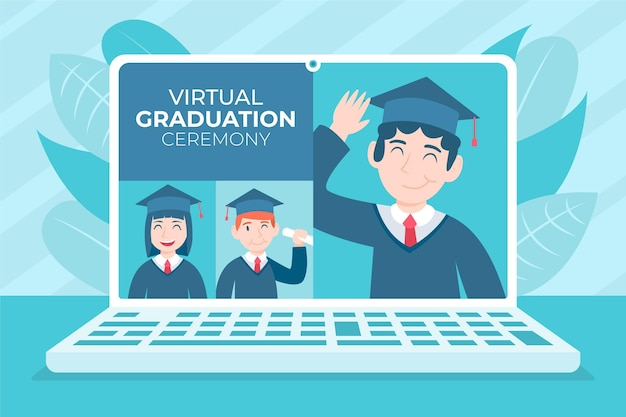 Virtual graduation ceremony with laptop