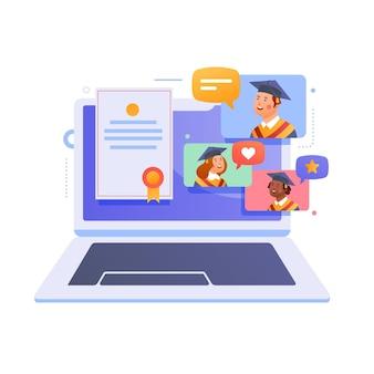Virtual graduation ceremony with laptop