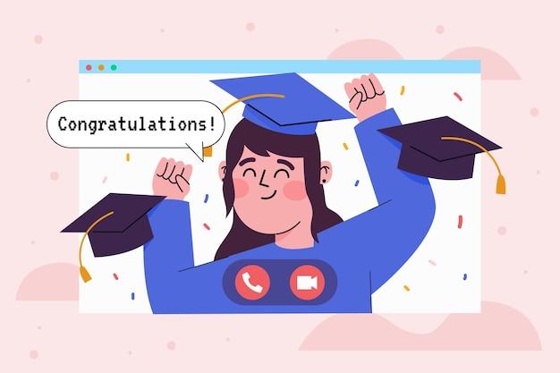 Cerimonia di laurea virtuale con studente