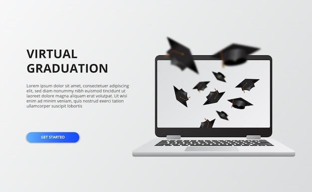 Виртуальный выпуск на карантинное время на ковид-19. экран ноутбука с летающей выпускной крышкой для выпускного вечера живой эфир.