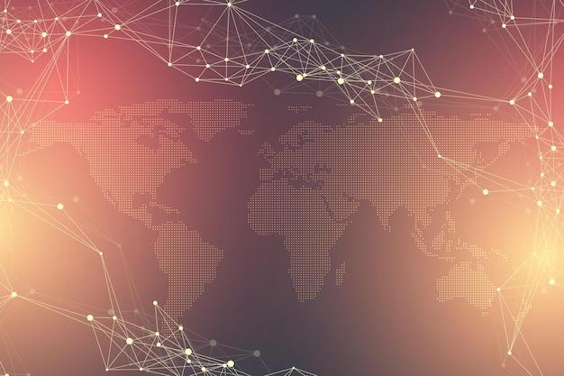 Виртуальная графическая абстрактная связь с пунктирной картой мира. визуализация цифровых данных.