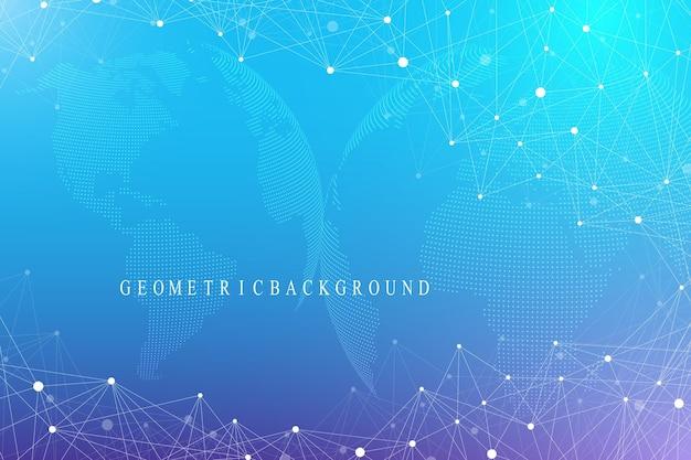 세계 글로브와 가상 그래픽 배경입니다. 글로벌 네트워크 연결. 디지털 데이터 시각화. 행성 지구의 두 반구를 연결합니다. 벡터 일러스트 레이 션.