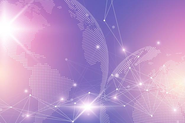 世界の地球儀と仮想グラフィックの背景。グローバルネットワーク接続。デジタルデータの視覚化。惑星地球の2つの半球を接続します。ベクトルイラスト。